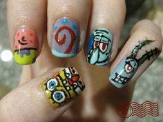 Spongbob Nails.... makeup-and-nails