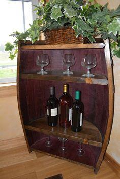 shelves made out of wood barrels   Refurbished, Repurposed, Custom Wood & Wine Barrel Furniture & Decor ...