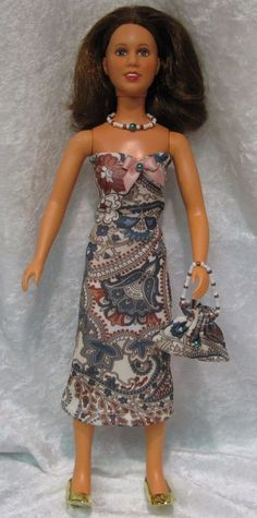 PRINCESS LEIA Star Wars Doll Clothes #07 Dress, Purse & Beaded Necklace Set #HandmadebyESCHdesigns