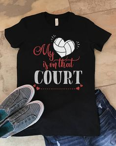My Heart Is On That Court Volleyball Mom Grandma Cotton Shirt Volleyball Training, Volleyball Mom, Volleyball Shirts, Sports Shirts, Tee Shirts, Tees, Volleyball Shirt Designs, Mom And Grandma, Craft Items