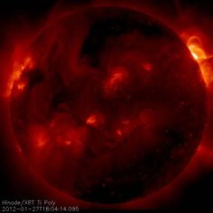 Credit: JAXA/HinodeThursday, February 9, 2012: On Jan. 27, 2012, a large X-class flare erupted from an active region on the sun, near the solar west limb. X-class flares represent the most powerful of all solar events. The X-ray telescope on Hinode spacecraft captured this image of the flare, showing an emission from plasma heated to greater than eight million degrees during the energy-release process of the flare