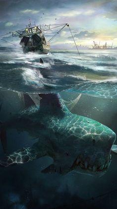 drawings - Under Da Sea Sea Monsters Dump Dark Fantasy Art, Fantasy Artwork, Fantasy World, Dark Art, Monster Art, Fantasy Monster, Arte Horror, Horror Art, Mythical Creatures