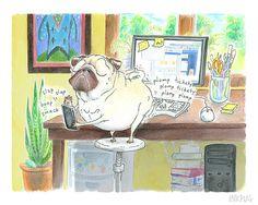 Pug Art Print 8x10 8.5x11 Social Media Pug Painting by InkPug