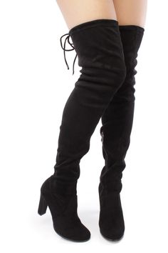 Black Thigh High Boots Chunky Heel Faux Suede | High boots, Thigh ...