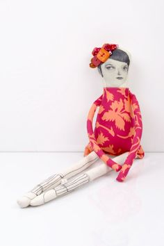 ooak quirky  lady Wearing floral fruchsia pink and peach ,Blooming in vintage…