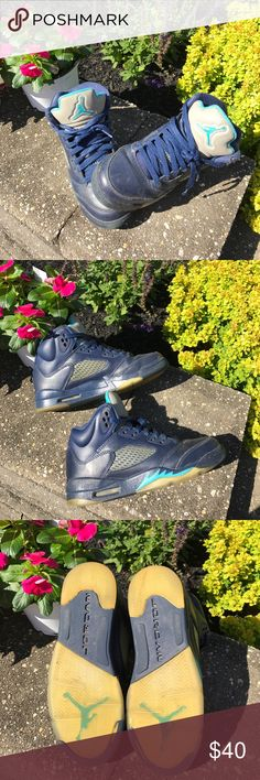 Jordon Retro Hornet 5s Jordon Retro Hornet 5s, boys, basketball sneakers, blue, worn well but still have good life in them. Perfect for a young man that will outgrow them quickly anyway.  Icy soles yellowed. Minor scuffs. Worn/frayed at top where laces meet sneaker. Air Jordan Shoes Sneakers