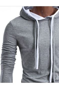 Grey Hoodie With White Strings