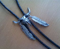 Bolo Tie/ Skull and Feathers by Lauralous on Etsy, $11.25