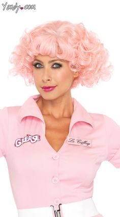 Pink Frenchie Wig Lady Costume 50s