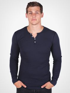 Long Sleeve Thermal Waffle Knit Henley