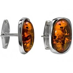 Baltic Honey Amber Sterling Silver Large Oval Cuff Links @ £60