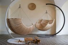 Bedroom, In Bed Style Hoar Kindling Hanging Chairs For Bedroom With Metal Curved Stands Gray Ceramic Pattern Flooring Wood Car Toy Bedroom Indoor Furniture For Girl And Boy Hanging Swing Chair Pods Teen Adult: Modern Hanging Chair Design For Master Bedroo Wooden Swing Chair, Wooden Garden Chairs, Chair Design Wooden, Hanging Swing Chair, Wooden Swings, Hammock Chair, Swinging Chair, Wooden Hammock, Chair Cushions