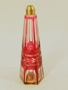 Baccarat Ruby to Clear Crystal perfume bottle,  Signed made in France Baccarat paper label acid etched Baccarat.