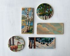 Paint by Number Circle Art Block 'Mountain View' - woodland, landscape,