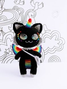 MADE TO ORDER - Magical Unicorn Kitten, handmade crocheted amigurumi doll plush toy with space eyes unique cat Cute Crochet, Crochet For Kids, Crochet Dolls, Crochet Hats, Crochet Unicorn Pattern Free, Amigurumi Doll Pattern, Crochet Monsters, Crochet Dragon, Gothic Dolls