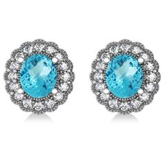 Allurez Blue Topaz & Diamond Floral Oval Earrings 14k White Gold... (12.455 DKK) ❤ liked on Polyvore featuring jewelry, 14k white gold jewelry, 14 karat gold jewelry, blue diamond jewelry, diamond pendant necklace and blue jewelry