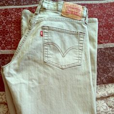 Levi's Boot Cut!! Levi's boot cut jeans in a khaki olive color! Wish these fit but they are just way too big for me. Levi's Jeans