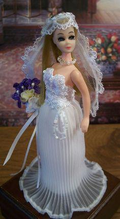 BRIDE Wedding Gown Veil Bouquet Necklace OOAK~Custom Fashion fits DAWN Pippa