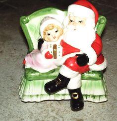 Vintage Christmas Josef Originals SANTA & Girl ON SOFA Animated Music Box
