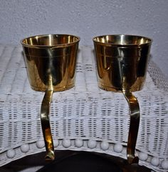 Vintage Pair of Solid Brass Planter/ Pot Candy by QUEENIESECLECTIC