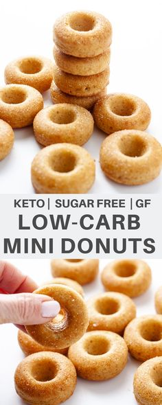 These cute little Low-carb Mini Donuts are easy to make in less than 30 minutes. Sugar free, gluten free, and keto. Sugar Free Donuts, Keto Donuts, Mini Doughnuts, Gluten Free Donuts, Keto Diet Breakfast, Breakfast Recipes, Breakfast Hash, Breakfast Crowd, Mcdonalds Breakfast