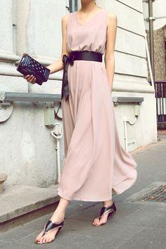 Elegant V-Neck Sleeveless Solid Color Bowknot Waisted Corset Chiffon Dress For Women (PINK,ONE SIZE) | Sammydress.com