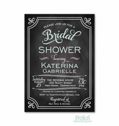 Modern Typography Vintage Background Bridal Shower Invitation - Chalkboard - PRINTABLE DIY Digital or Printed Design