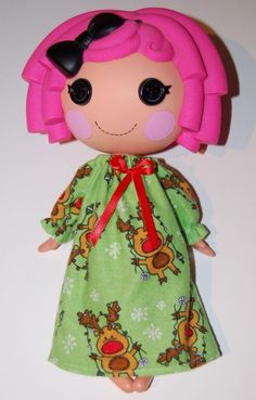 "Christmas Reindeer Nightgown fits 12"" Lalaloopsy dolls - doll clothes only"