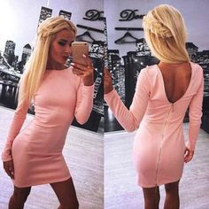 Stretchy Zip Back Mini Dress Size 6 Stretchy Long Sleeve Stretchy Pink/Orange Dress Size Medium.  Very Warm and comfortable fits best on Ladies Size Medium or 4/7 up to 34/36C Dresses Mini