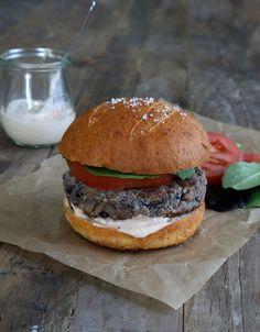 Gluten Free Black Bean Veggie Burgers on a Gluten Free Pretzel Bun