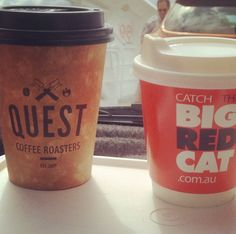 Quest Cup making new friends with a Big Red Cat cup on the vehicle ferry from Cleveland to North Stradbroke Island.