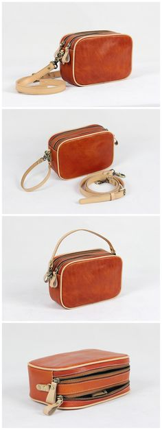 Vegetable Tanned Leather Pouch Bag Clutch Bag Comestic Bag We use genuine cow leather, quality hardware and nylon fabric to make the bag as good as it is. •Long shoulder strap. •Open top zipper closur