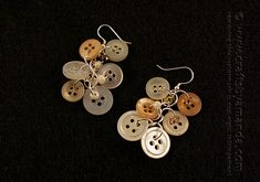 Pretty Dangling Antique Button Earrings by Amanda Formaro of Crafts by Amanda - great for a rustic wedding!