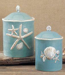 Blue Sea Life Kitchen Jars...  Http://www.beachblissdesigns.com/2016/11/blue Sea Life Jars.html | Shop  Beach Bliss Designs | Pinterest | Jars, ...