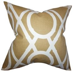"""Add this throw pillow as a finishing piece to your interior. Decorated with a geometric pattern in shades of brown and white, this 18"""" pillow lends comfort and style. This plush accent pillow is made of 100% high-quality cotton material and proudly crafted in the USA. Pair with other pillows from our selection of gorgeous patterns and solids. $55.00  #geometricpillow  #pillows  #homedecor  #interiorstyling"""