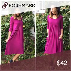 Magenta Midi Dress Gorgeous magenta V neckline empire cut but Line midi dress. Pair with knee boots, booties or heels. Made of rayon and spandex.                               Small  Bust 38 Length 44  Medium  Bust 40 Length 44  Large  Bust 42 Length 45  Extra large  Bust 44 Length 45 Threads & Trends Dresses Midi