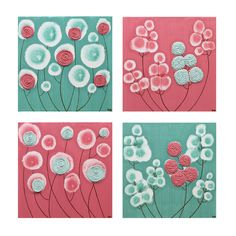Teal and Pink Art - Set of Four Original Paintings of Flowers - Textured Canvas Art for Baby Girl Nursery - 25X25 Square - MADE TO ORDER. $152.00, via Etsy.