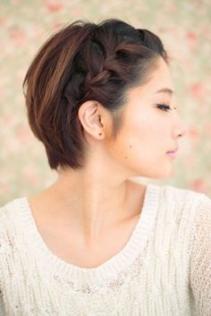 Short Braided Hairstyles You're Going To Love This side braid is super-chic and works on even the shortest hair. For a cool asymmetrical look, deep part your hair to one side and French braid just the thicker side, pinning it behind your ear.