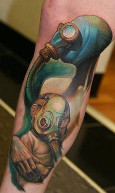 Off The Map tattoo, Easthampton, MA. Scary Tattoos, Life Tattoos, Body Art Tattoos, Cool Tattoos, Awesome Tattoos, New Mexico Tattoo, Gas Mask Tattoo, Off The Map Tattoo, Bamboo Tattoo