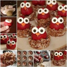 These sweet strawberry owls with crispy nests are seriously so adorable! They are perfect for any party and a healthy summer snack for picky kids. Cute Snacks, Snacks Für Party, Cute Food, Good Food, Yummy Food, Owl Snacks, Bonbon Fruit, Food Crafts, Diy Food