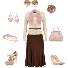 Pink and brown outfit by julesrenee on Polyvore featuring Vero Moda, Marc by Marc Jacobs, Miss Selfridge, Rupert Sanderson, Majolie Collections, Mulberry, Victoria Beckham, A|Wear and MANGO