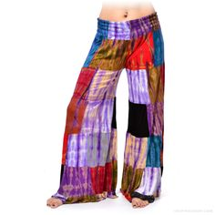 Tie Dye Patchwork Palazzo Pants on Sale for $36.95 at The Hippie Shop