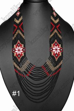 WITHOUT INTERMEDIARIES. Handmade. Made from strong and durable polyester thread. Custom sizes and colors available upon request. Color #1: Black /Gold /White /RED #1 Color #2: Black /Gold /White /RED #2 Material: Czech Glass Beads Preciosa 10/0. Total length (~50 cm) - 19.7 in. Internal Bead Embroidery Patterns, Beading Patterns Free, Seed Bead Necklace, Beaded Earrings, Beaded Bracelets, African Necklace, African Beads, Handmade Beaded Jewelry, Beaded Jewelry Patterns