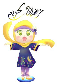 Ramadan Kareem With Little Girl Drawing Text رمضان كريم Translation Have a blessed Ramadan. http://islamicartdb.com/ramadan-kareem-with-little-girl-drawing/