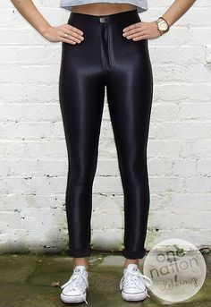 2fe40137783 High Waisted Shiny American Apparel Style Disco Pants Leggings Black S M L  XL