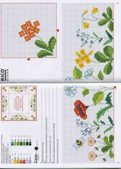 flori for tablecloth Counted Cross Stitch Patterns, Cross Stitch Designs, Cross Stitch Embroidery, Embroidery Patterns, Mini Cross Stitch, Cross Stitch Flowers, Rico Design, Back Stitch, Small Flowers