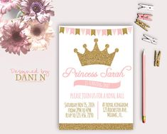 Princess Birthday Party INVITATION glitter by DesignedbyDaniN