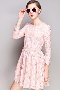 Embroidered Eyelet Silk Dress