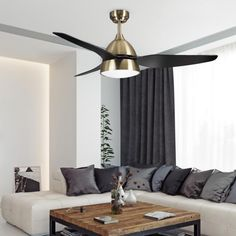 Fan with light Autan II - Fabrilamp - Wonderlamp. Bedroom Dimensions, Fashion Room, Living Room, Ceiling Fans, Shop, Seasons, Home Decor, Brown Roofs, Gold Ceiling