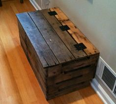 Trunk made out of reclaimed pallets -perfect for a toy box in the living room